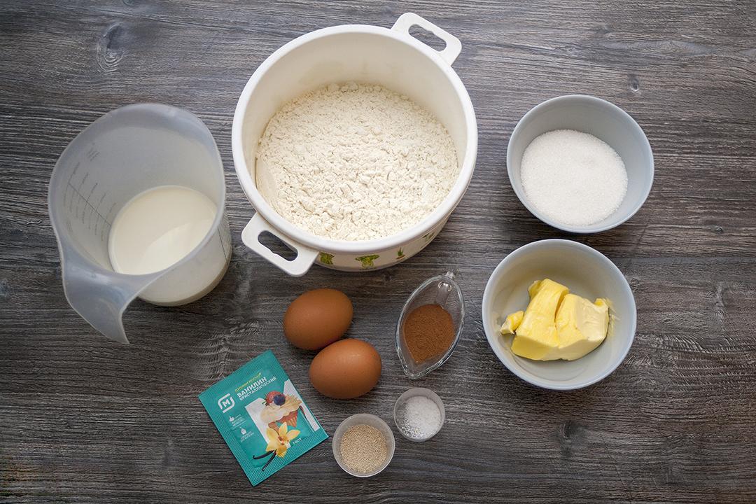 Ингредиенты для рецепта булочек с корицей